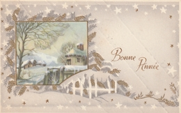 Carte Postale Des Années 60 Fantaisie - Mignonette - Paysage - Bonne Année - Fantaisies