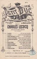 Le Petit Duc  N°3 Couplets ( Opéra Comique 3 Actes) Paroles Henri Meilhac & Ludovic Halevy Musique Charles Lecocq TBE - Partitions Musicales Anciennes