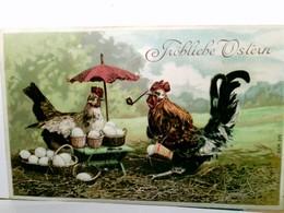 Fröhliche Ostern. Alte Präge - AK Farbig. Hahn Mit Pfeife, Henne Mit Schirm, Körbr Mit Eiern, Gel. 1908 - Feiern & Feste