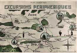 Plan Touristique EXCURSIONS PERIPHERIQUES  Aude Pyr Or RV - Cartes Géographiques