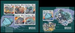 GUINEA BISSAU. 2018 **MNH Minerals Mineralien Mineraux M/S+S/S - IMPERFORATED - DH1848 - Minéraux