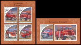 GUINEA REP. 2018 **MNH Fire Engines Feuerwehr Fahrzeuge Camions De Pompier M/S+S/S - IMPERFORATED - DH1848 - Sapeurs-Pompiers