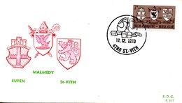 BELGIQUE. N°1566 De 1970 Sur Enveloppe 1er Jour. Armoiries. - Enveloppes