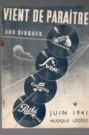 Catalogue De Disques LA VOIX DE SON MAITRE Etc Juin 1941  (PPP9937) - Werbung