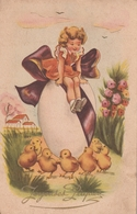 Carte Postale Ancienne Fantaisie Illustrée - Fillette Oeufs - Poussins - Joyeuses Pâques - Pâques