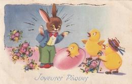 Carte Postale Des Années 50-60 Fantaisie - Ajoutis Lapins Et Oeufs - Poussins - Joyeuses Pâques - Quelques Paillettes - Easter