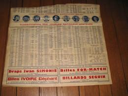 Affiche INCOMPLETE  - Billard , Avec Photos Et Noms Des Champions Internationaux De 1953/54 Et,..Verveirs, Anvers.(jm) - Affiches