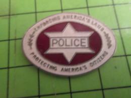 613F Pins Pin's / Rare & De Belle Qualité  THEME : POLICE / USA ETOILE DE DAVID ENFORCING AMERICA'S LAWS PROTECTING AMER - Police