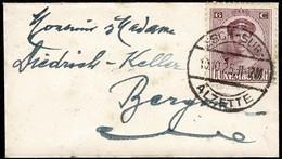 1921 Petite Lettre (90x50mm) Cachet Esch-Sur-Alzette 10.10.1925 Michel:124  6c.violet-pourpre - Lettres & Documents