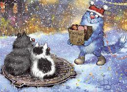 Cat Katze Chat The New Year Mail  Artist Rina Zenuk Russia - Gatti