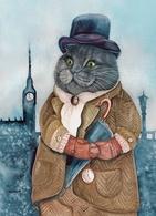 Cat Katze Chat London Dandy Artist Plovrtckaya Russia - Gatti