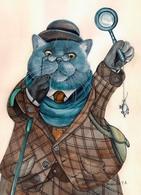 Cat Katze Chat Doctor Watson Artist Plovrtckaya Russia - Cats