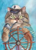 Cat Katze Chat Sea Wolf Artist Plovrtckaya Russia - Cats