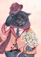 Cat Katze Chat Romantic Artist Plovrtckaya Russia - Gatti