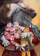Cat Katze Chat Musketeer Artist Plovrtckaya Russia - Cats