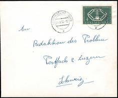 1956 Lettre Cachet Luxembourg-Gare 4.8.195,7 Michel:554  4F Vert-foncé - Luxembourg