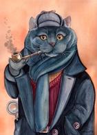 Cat Katze Chat Sherlock Artist Plovrtckaya Russia - Cats