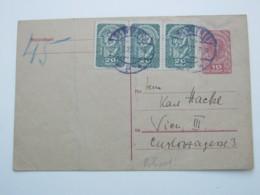 1920 , WIEN , Klarer Stempel Auf Ganzsache Als Rohrpostkarte - 1918-1945 1. Republik