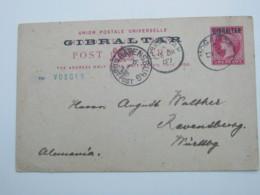 1887 , MOGADOR , Klarer Stempel Auf Ganzsache  To Germany, Much Written Message On Backside - Gibraltar