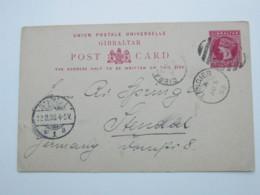 1895 , TANGIER , Klarer Stempel Auf Ganzsache  To Germany, Much Written Message On Backside - Gibraltar