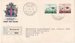 ISLANDE 1958 LETTRE  FDC RECOMMANDEE DE REYKJAVIK - FDC