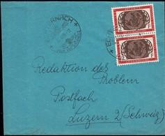 1955 10 Ans Nations Unies UNO, Cachet Echternach Pour Vos Vacances 22.12.55, Michel:2x538  2F 2Scans - Luxembourg