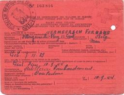 Kaart Rood Kruis - Gent - Oorlogsslachtoffer Vermeersch Fernand Bombardement 10 Sept 1944 - Documents