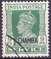 INDIA CHAMBA 1940 KGVI 9pie  Green Service SGO75 VFU - Chamba