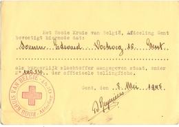 Kaart Rood Kruis - Gent - Erkenning Burgerlijk Oorlogsslachtoffer Soenen Edward - 1945 - Documents