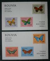 Butterflies Papillons Schmetterlinge 2 X Sheet Bolivia 1970 Imperf. / ** MNH - Schmetterlinge
