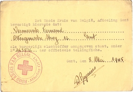 Kaart Rood Kruis - Gent - Erkenning Burgerlijk Oorlogsslachtoffer Vermeersch Fernand - 1945 - Documents