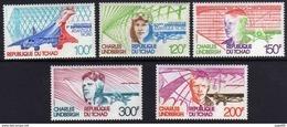 Tchad PA N° 200 / 04 XX Atlantique Nord, 50ème Anni. De La Traversée Par C. Lindberg, Les 5 Valeurs Sans Charnière, T.B - Tchad (1960-...)