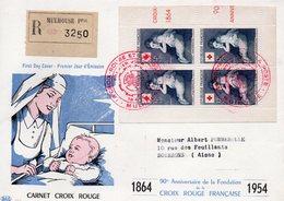 Enveloppe Premier Jour Croix Rouge  1954 - FDC
