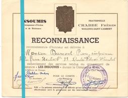Oorlog Guerre - Reconnaissance Pierre Dumont - Groupement Résistance Les Insoumis - Woluwé St Pierre - Crabbe Frères - Documenti
