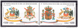 Chile - Chili 1990 Yvert 1005- 06, 1st Visit Of His Majesty King And Queen Of Spain - MNH - Chile