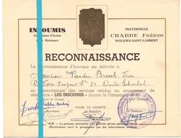 Oorlog Guerre - Reconnaissance Jean Van Den Broeck - Groupement Résistance Les Insoumis - Woluwé St Pierre Crabbe Frères - Documents