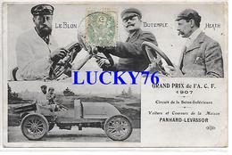 Grand Prix De L'A.C.F. 1907 Circuit De La Seine Inferieure Panhard Levassor, Le Blon, Dutemple, Heath - France