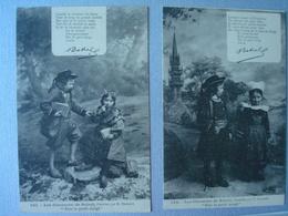 """Les Chansons De BOTREL Illustrées Par E. HAMONIC """"Par Le Petit Doigt"""" Numérotées De 341 à 348 (8 CARTES) - Cartes Postales"""