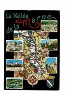 La Vallée De La Marne - Multivues Carte Routière, Villes, Blasons, Rose Des Vents - Circulé 1976 - Cartes Géographiques