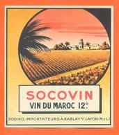 étiquette Ancienne De Vin Du Maroc Socovin Sodiko à Rablay Sur Layon - Vin De Pays D'Oc
