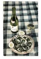 CPSM RECETTE CUISINE LE PLAT D'HUITRES ET BOUTEILLE DE MUSCADET - Recettes (cuisine)