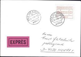 1986 Lettre EXPRES Cachet Esch-sur-Alzette, Timbre De Distributeurs 42.00 P2503  2Scans - Luxembourg