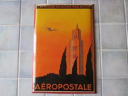Pub Ancienne L Afrique Du Nord Par Avion Aéropostale 35 X 24 Cm - Vintage - Advertising (Porcelain) Signs