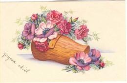 CPA Joyeux Noel - Sabot Avec Des Fleurs - Noël