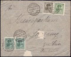 1926 Lettre Esch-Sur-Alzette Vers Saarburg, 4Cachtes, Michel: Paire128,152,153  2Scans - 1921-27 Charlotte De Face