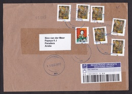 Brazil: Registered Cover To Aruba, 2012, 7 Stamps, Piano, Music, Manicure, Transit Via Trinidad, R-label (traces Of Use) - Brazil