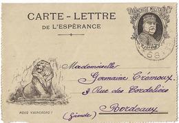 CARTE LETTRE ESPERANCE FM JOFFRE NOUS VAINCRONS SECTEUR 68 - Marcophilie (Lettres)