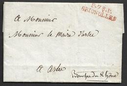 1819 LAC P78P Brignolles En Rouge VAR(78)  Pour ARLES - Arrondissement Theatral - Directeur Gamar - Marcophilie (Lettres)