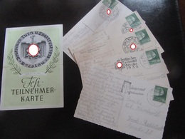 Turnfest Breslau 1938 - Teilnehmerkarte (Knick) + Postkarten Teilnehmerin - Text U.a. Bez. Hitler - Briefe U. Dokumente