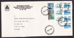 Brazil: Cover To Netherlands, 1989, 8 Stamps, Church, Industry, Economy, Inflation: $ 880 (minor Damage) - Brazilië
